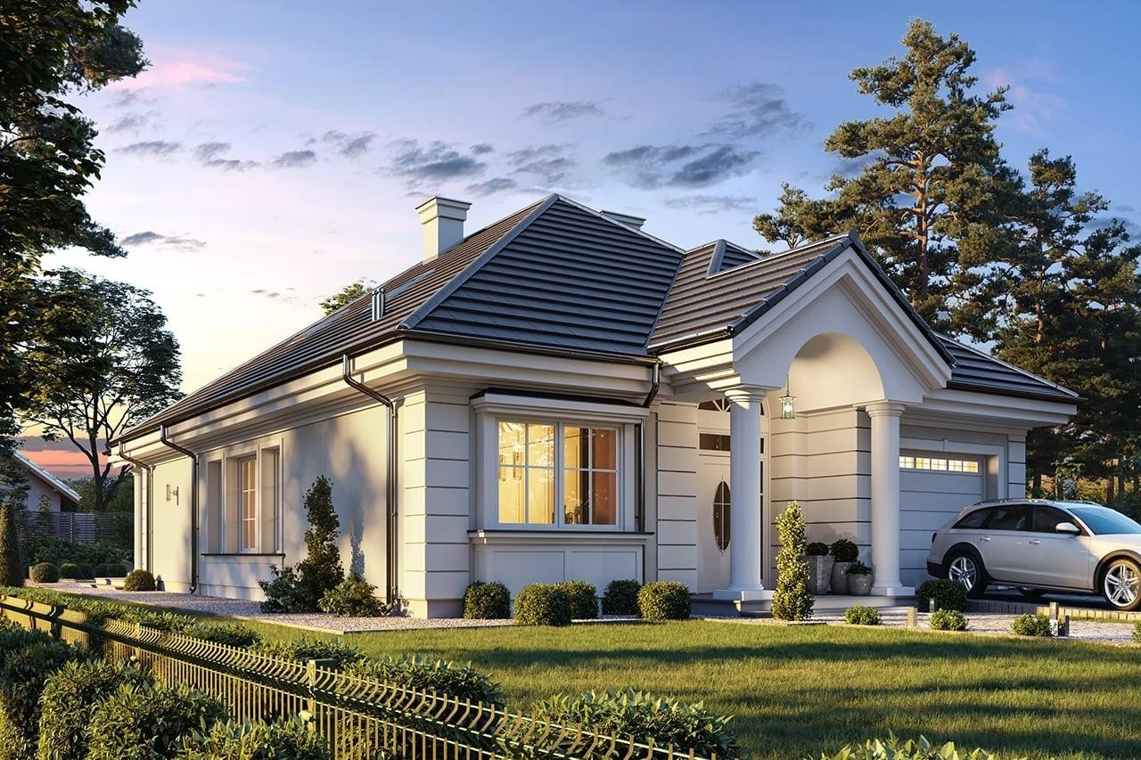 Projekt domu Dom na Parkowej 7 B - wizualizacja frontu odbicie lustrzane