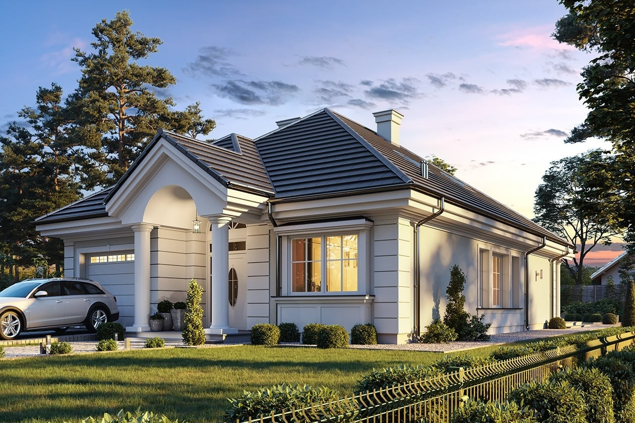 Projekt domu Dom na Parkowej 7 B - wizualizacja frontu