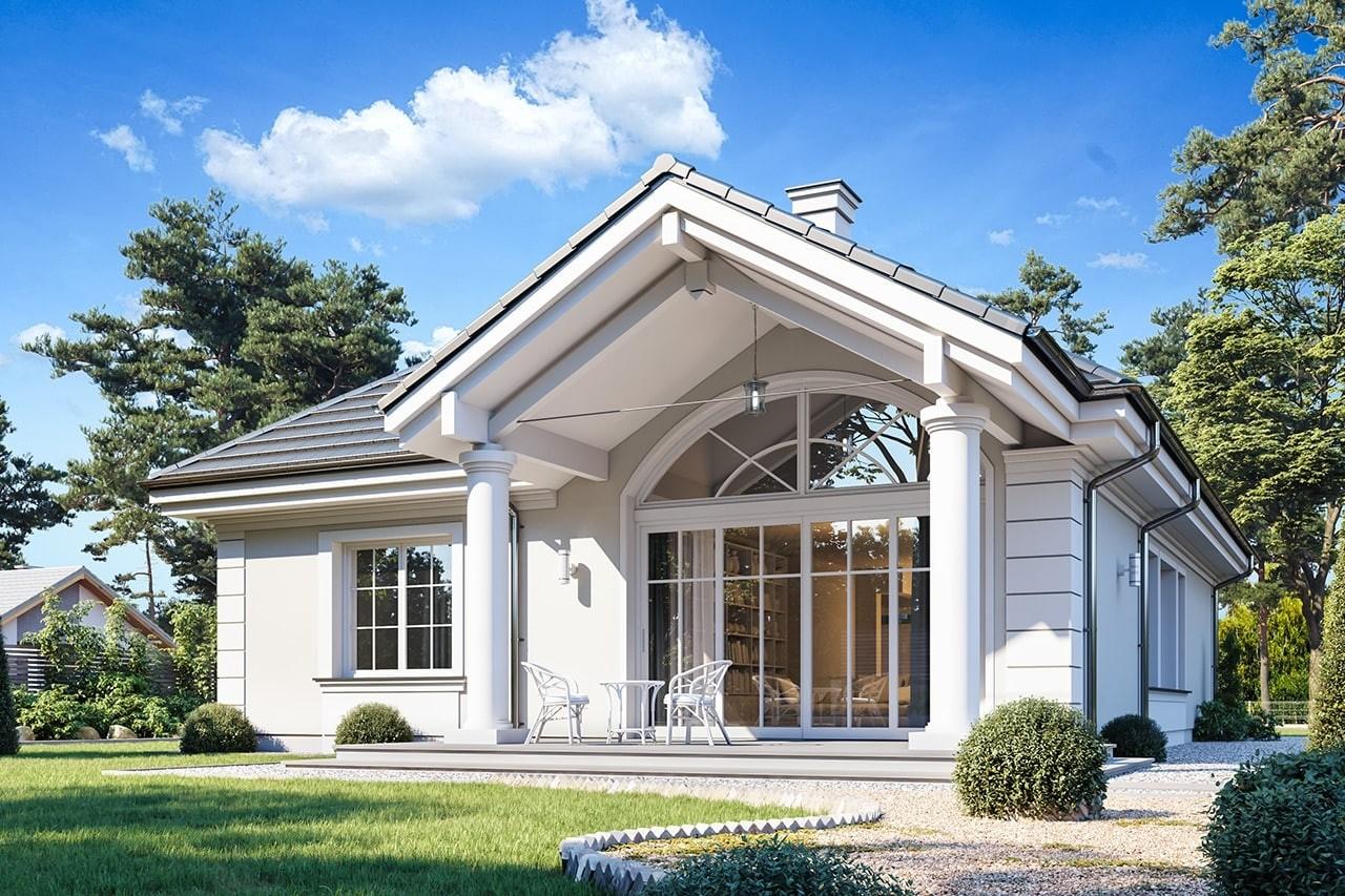 Projekt domu Dom na Parkowej 7 B - wizualizacja tylna odbicie lustrzane