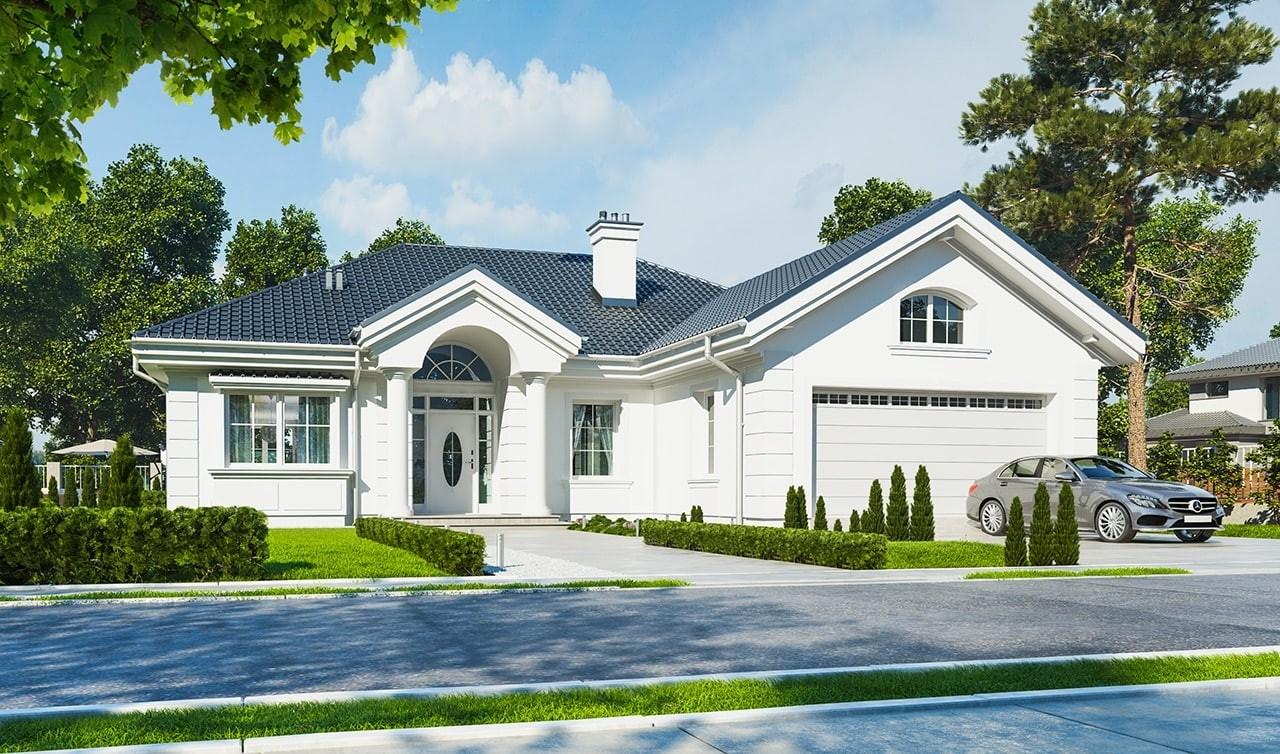 Projekt domu Dom na Parkowej - wizualizacja frontowa odbicie lustrzane