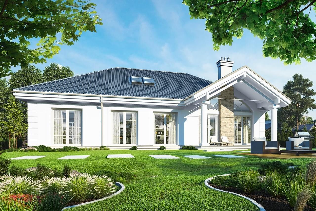 Projekt domu Dom na Parkowej - wizualizacja tylna odbicie lustrzane