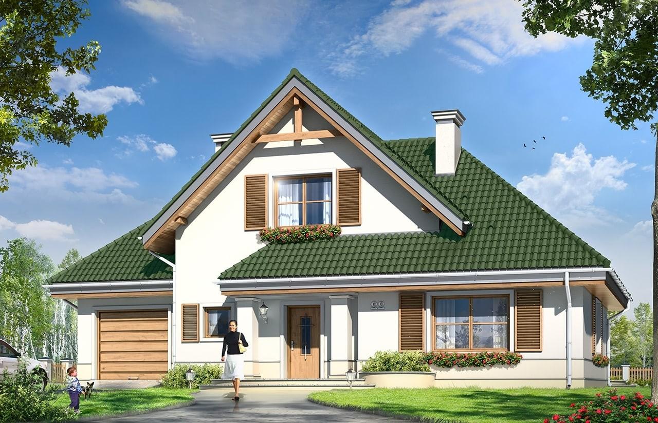 Projekt domu Dom w brzozach  - wizualizacja frontu odbicie lustrzane