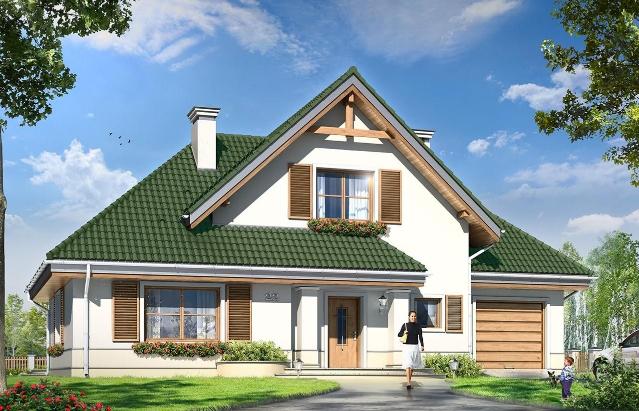 Projekt domu Dom w brzozach  - wizualizacja frontu