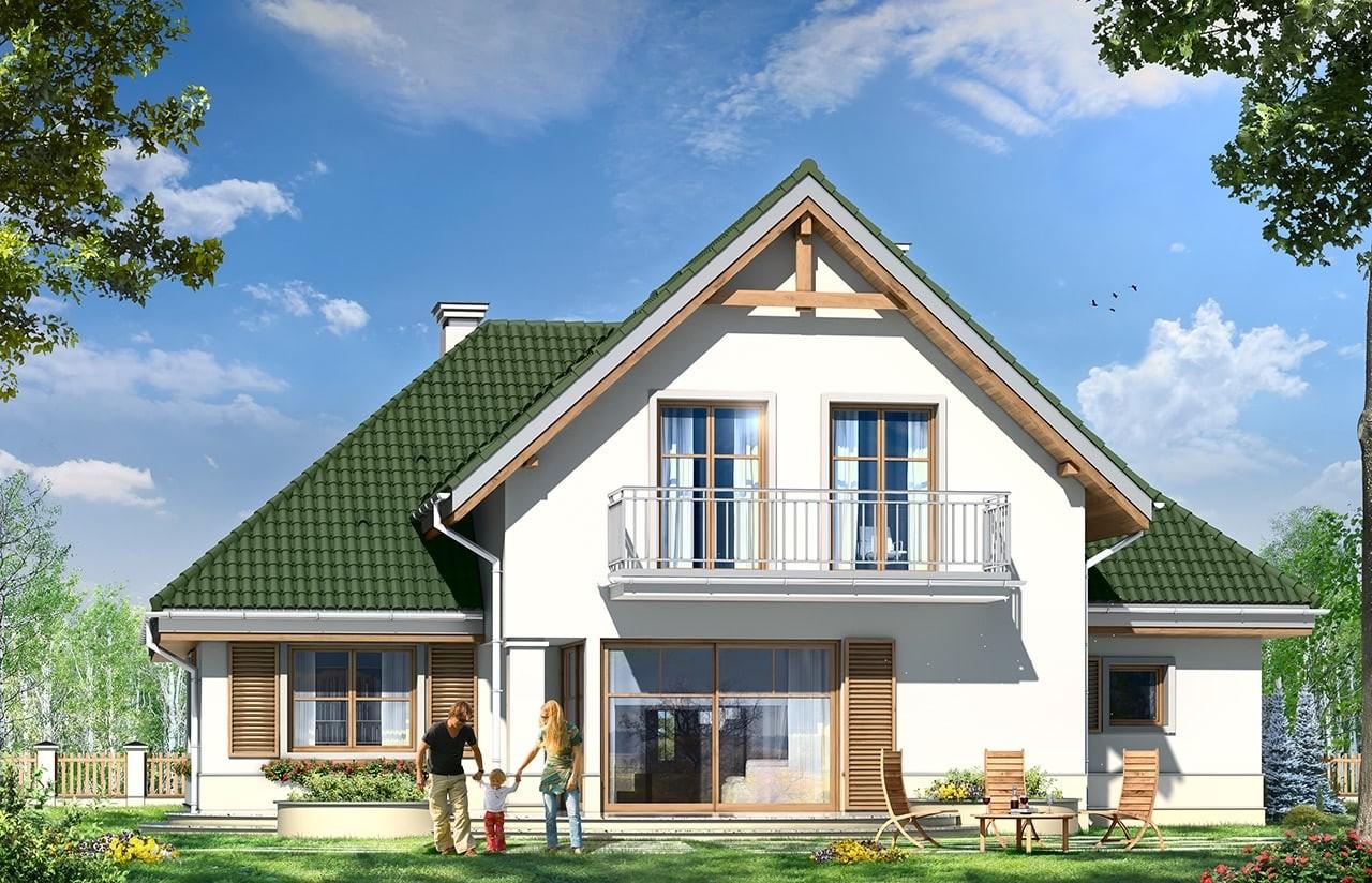Projekt domu Dom w brzozach - wizualizacja tylna odbicie lustrzane