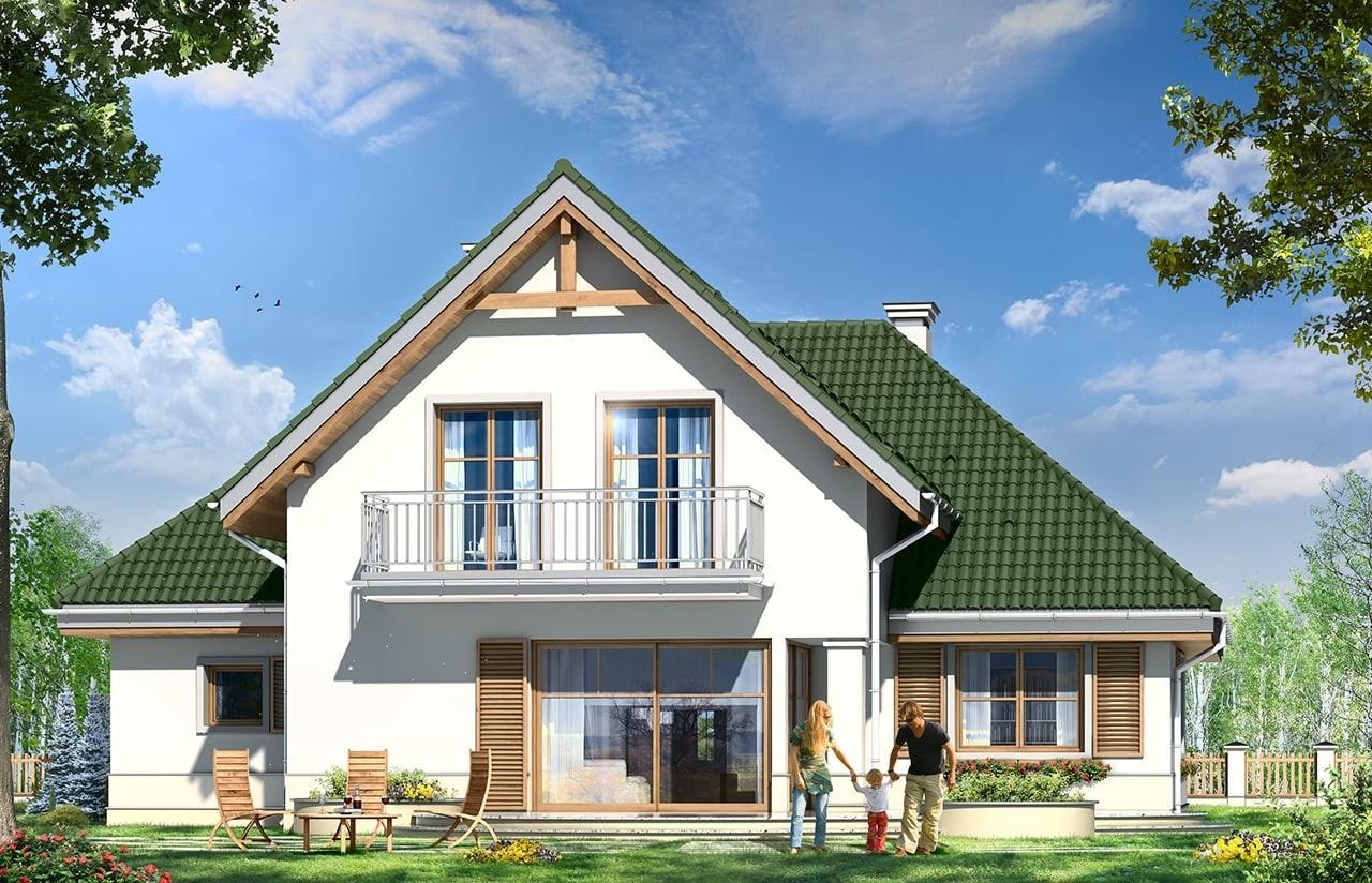Projekt domu Dom w brzozach - wizualizacja tylna