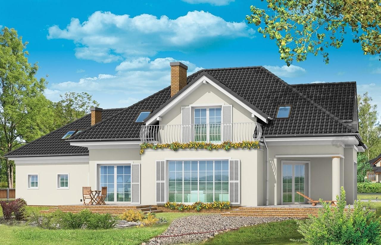 Projekt domu Dom z kolumnami - wizualizacja tylna odbicie lustrzane
