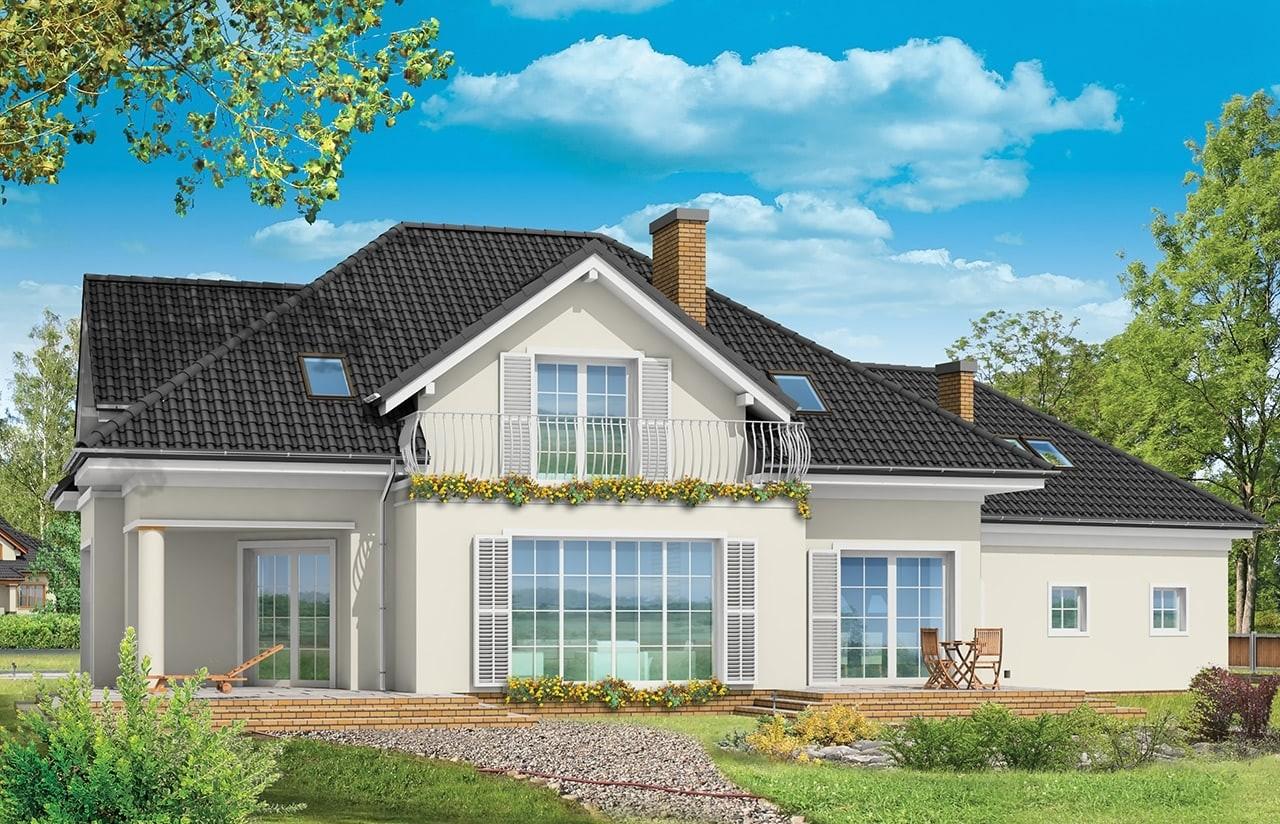 Projekt domu Dom z kolumnami - wizualizacja tylna