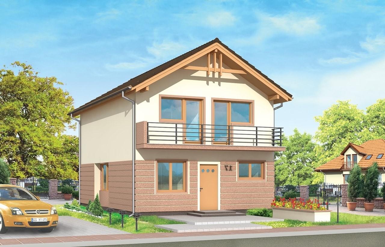 Projekt domu Dom z piętrem - wizualizacja frontu odbicie lustrzane