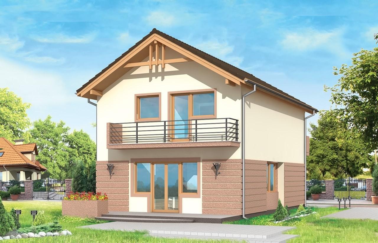 Projekt domu Dom z piętrem - wizualizacja tylna odbicie lustrzane