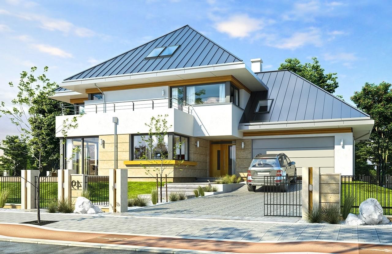 Projekt domu Dom z widokiem 2 - wizualizacja frontowa C odbicie lustrzane