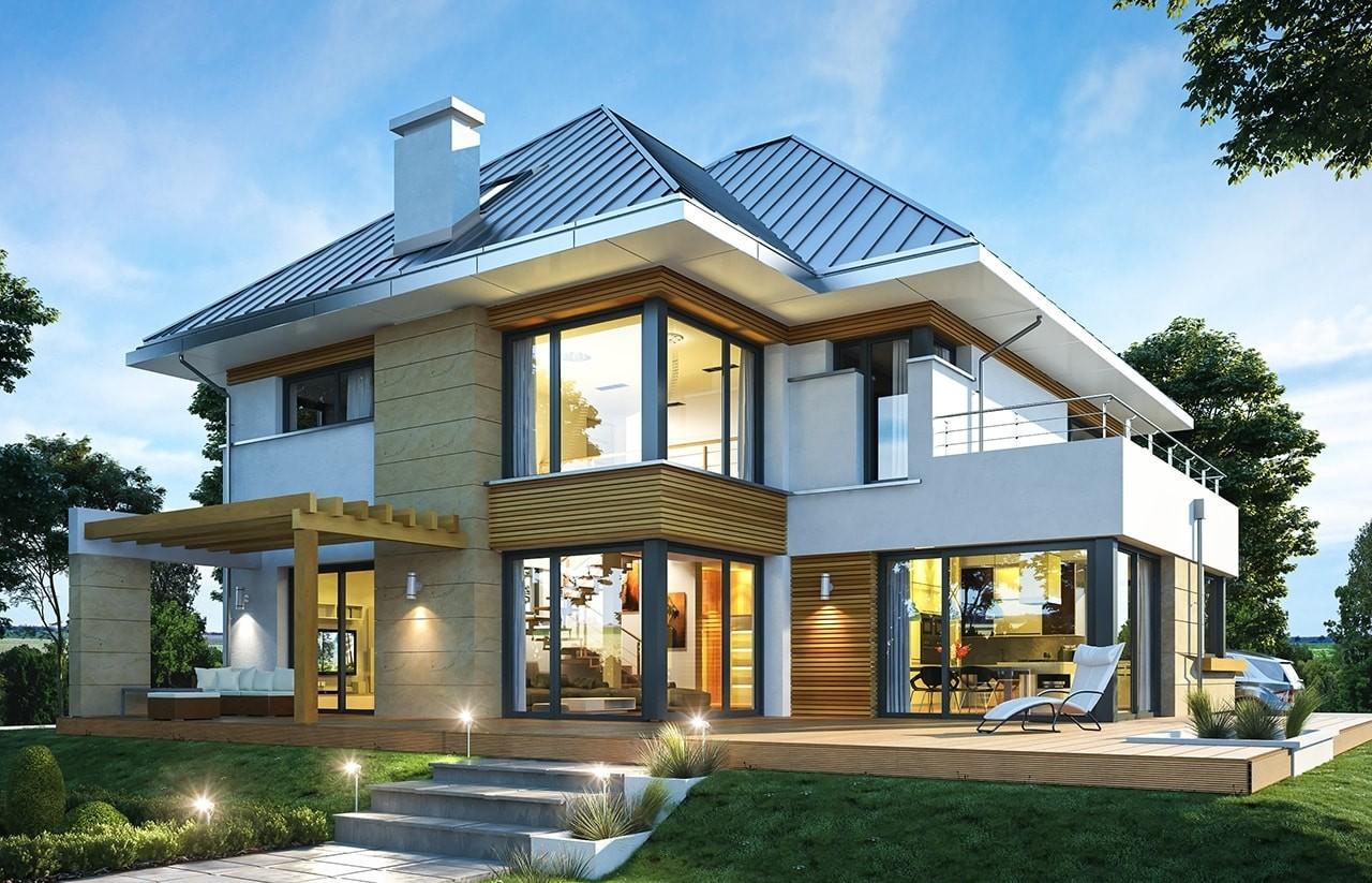 Projekt domu Dom z widokiem 2 C - wizualizacja tylna odbicie lustrzane