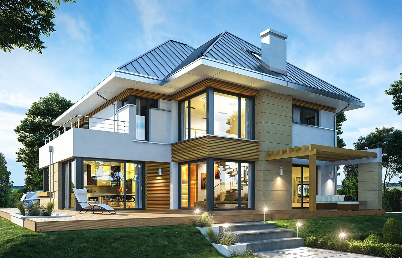 Projekt domu Dom z widokiem 2 C - wizualizacja tylna