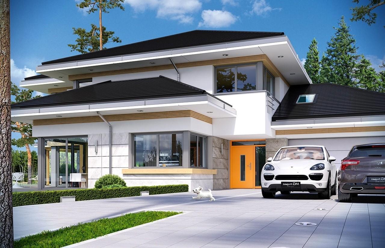 Projekt domu Dom z widokiem 2 - wizualizacja frontu odbicie lustrzane