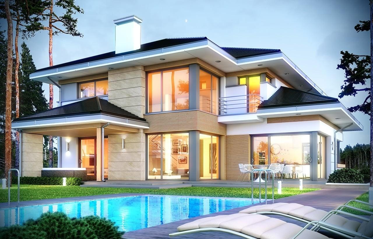 Projekt domu Dom z widokiem 2 - wizualizacja tylna odbicie lustrzane