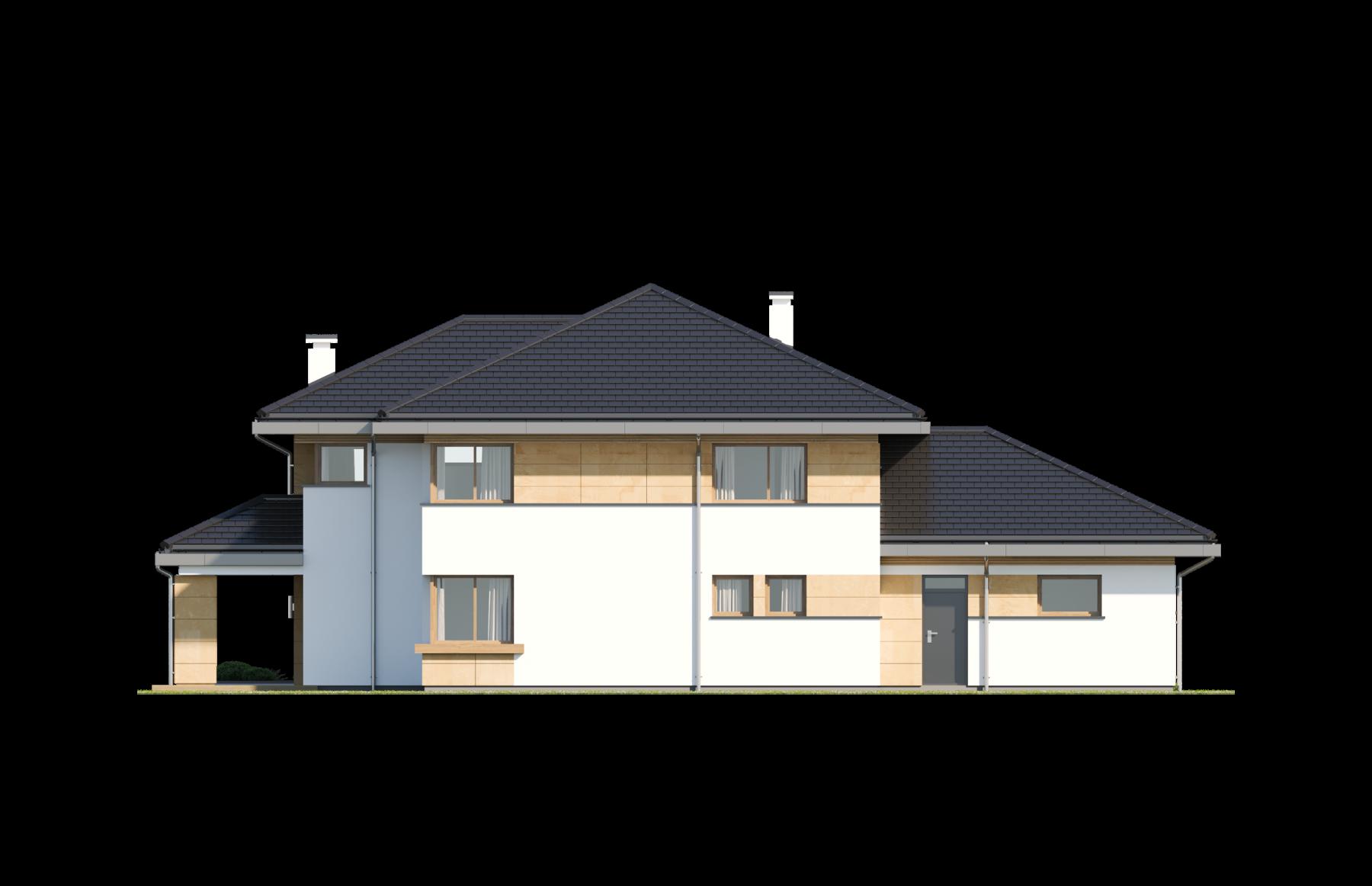 Dom z widokiem 3 wariant B - elewacja ogrodowa odbicie lustrzane