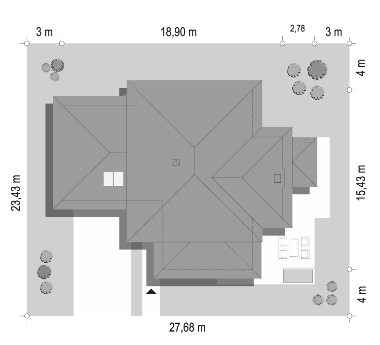Dom z widokiem 3 wariant B - sytuacja odbicie lustrzane