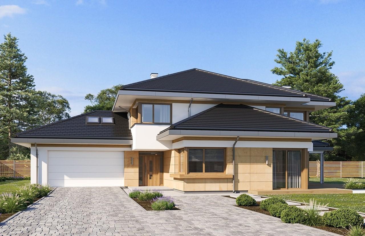 Projekt domu Dom z widokiem 3 wariant B wizualizacja frontu odbicie lustrzane