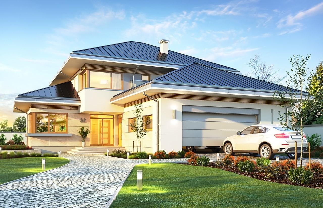 Projekt domu Dom z widokiem 3 F - wizualizacja frontu odbicie lustrzane