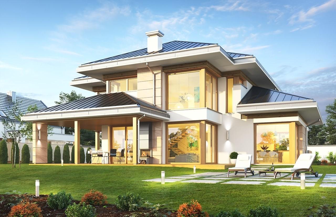 Projekt domu Dom z widokiem 3 F - wizualizacja tylna odbicie lustrzane