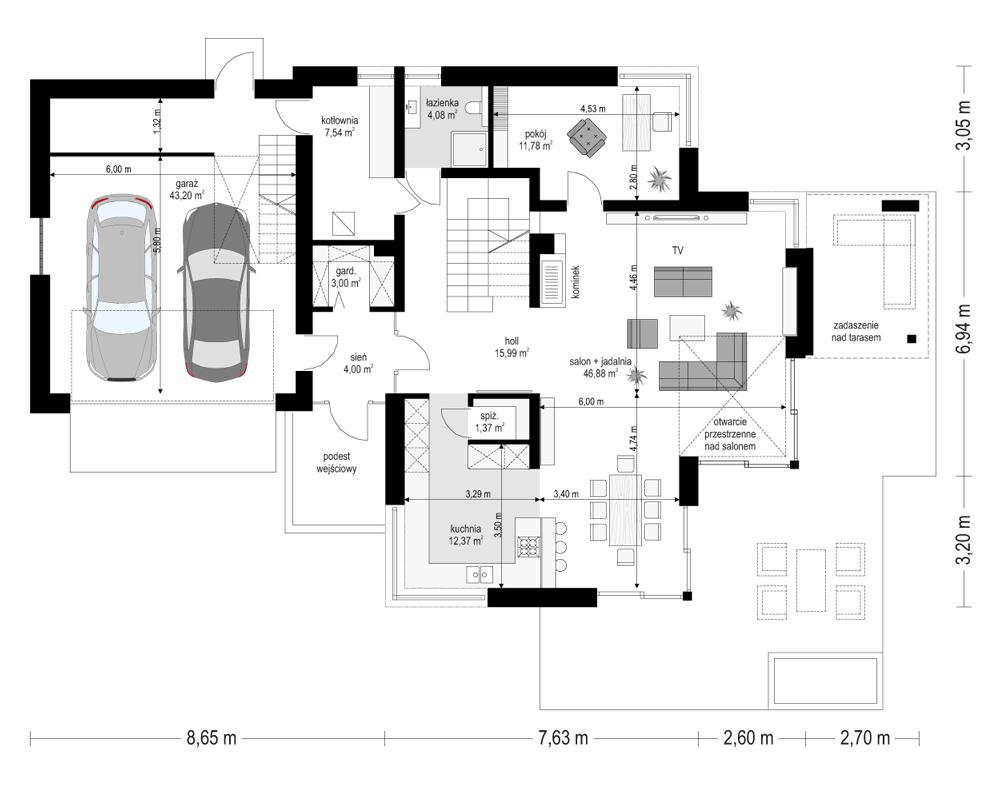 Dom z widokiem 3 - rzut parteru odbicie lustrzane