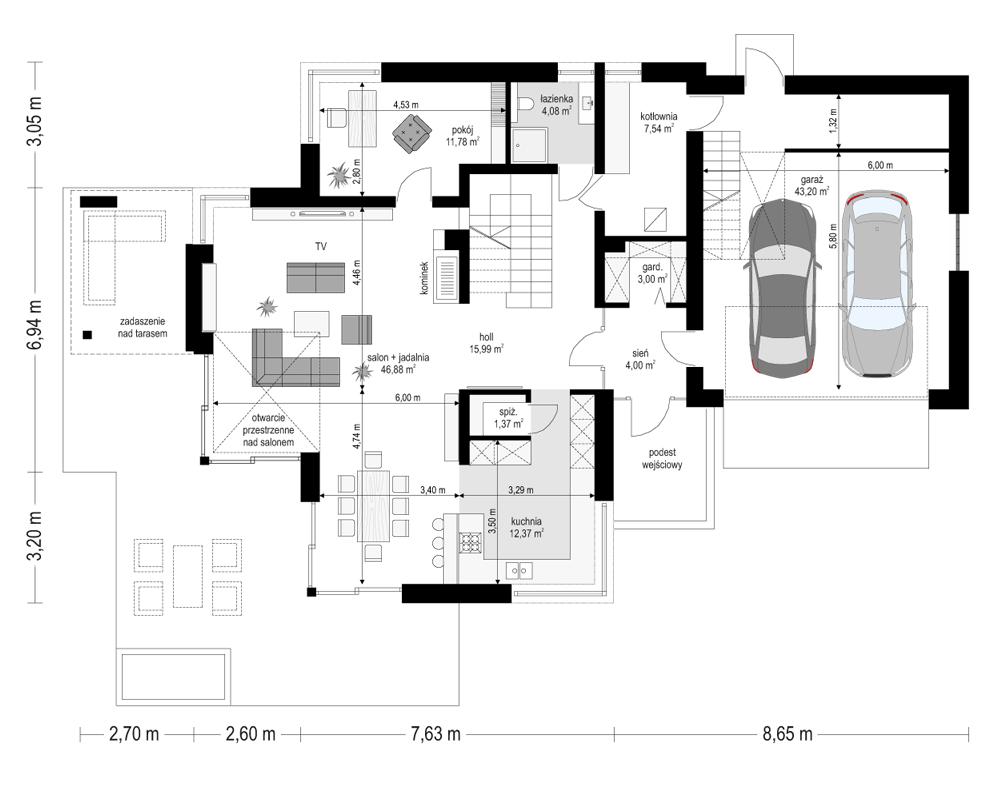 Dom z widokiem 3 - rzut parteru