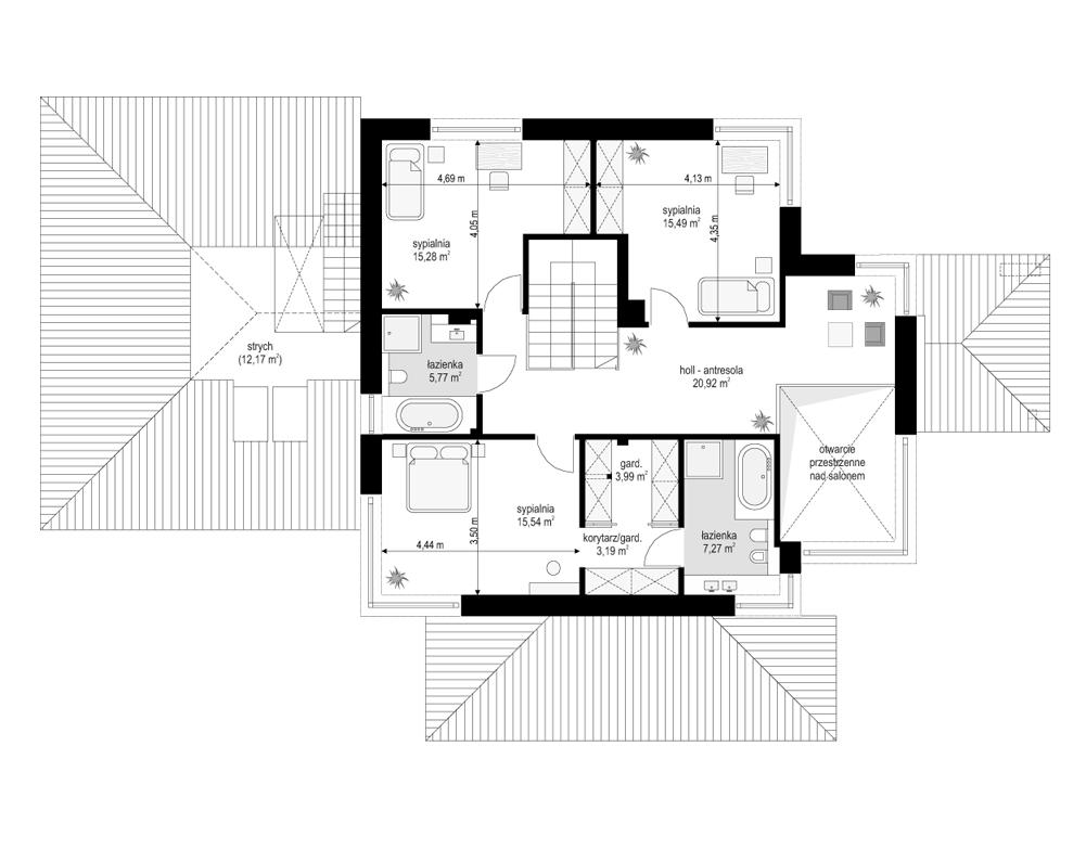 Dom z widokiem 3 - rzut piętra odbicie lustrzane