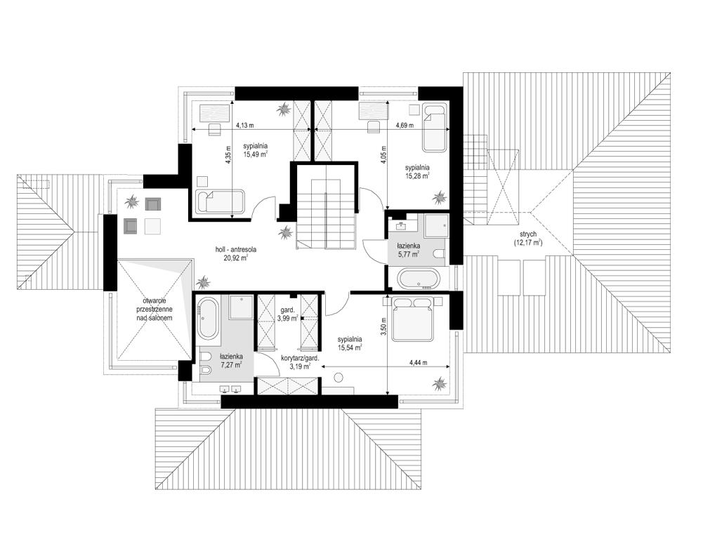 Dom z widokiem 3 - rzut piętra