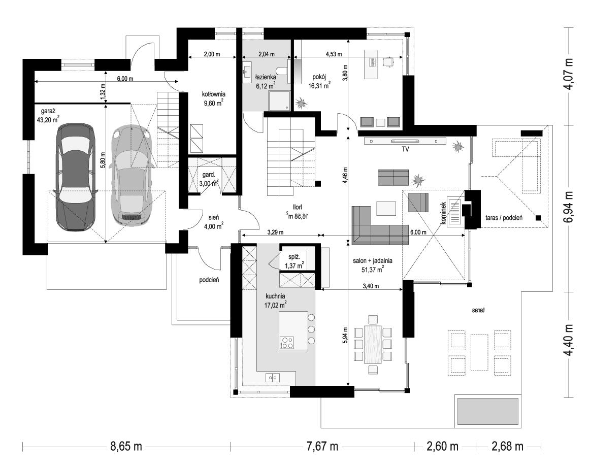 Dom z widokiem 3 wariant B - rzut parteru odbicie lustrzane