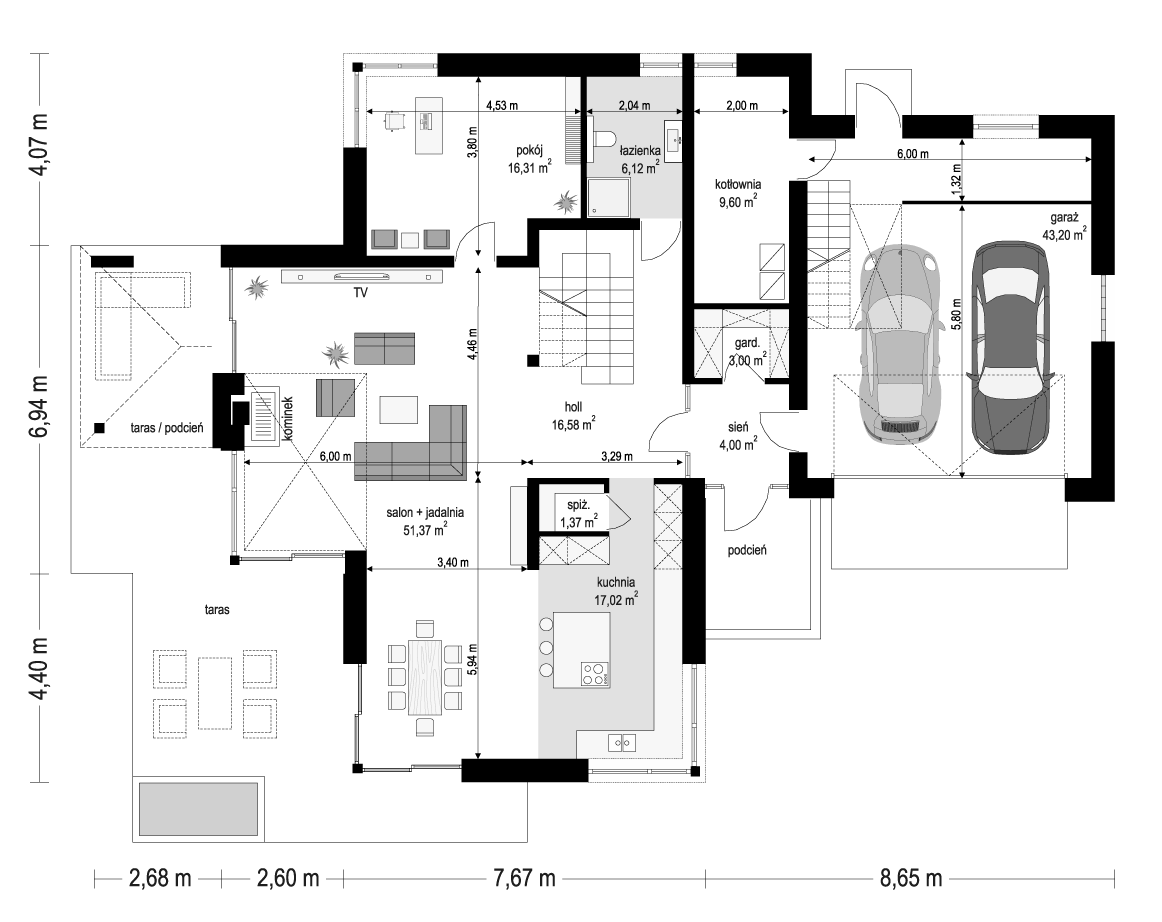 Dom z widokiem 3 wariant B - rzut parteru