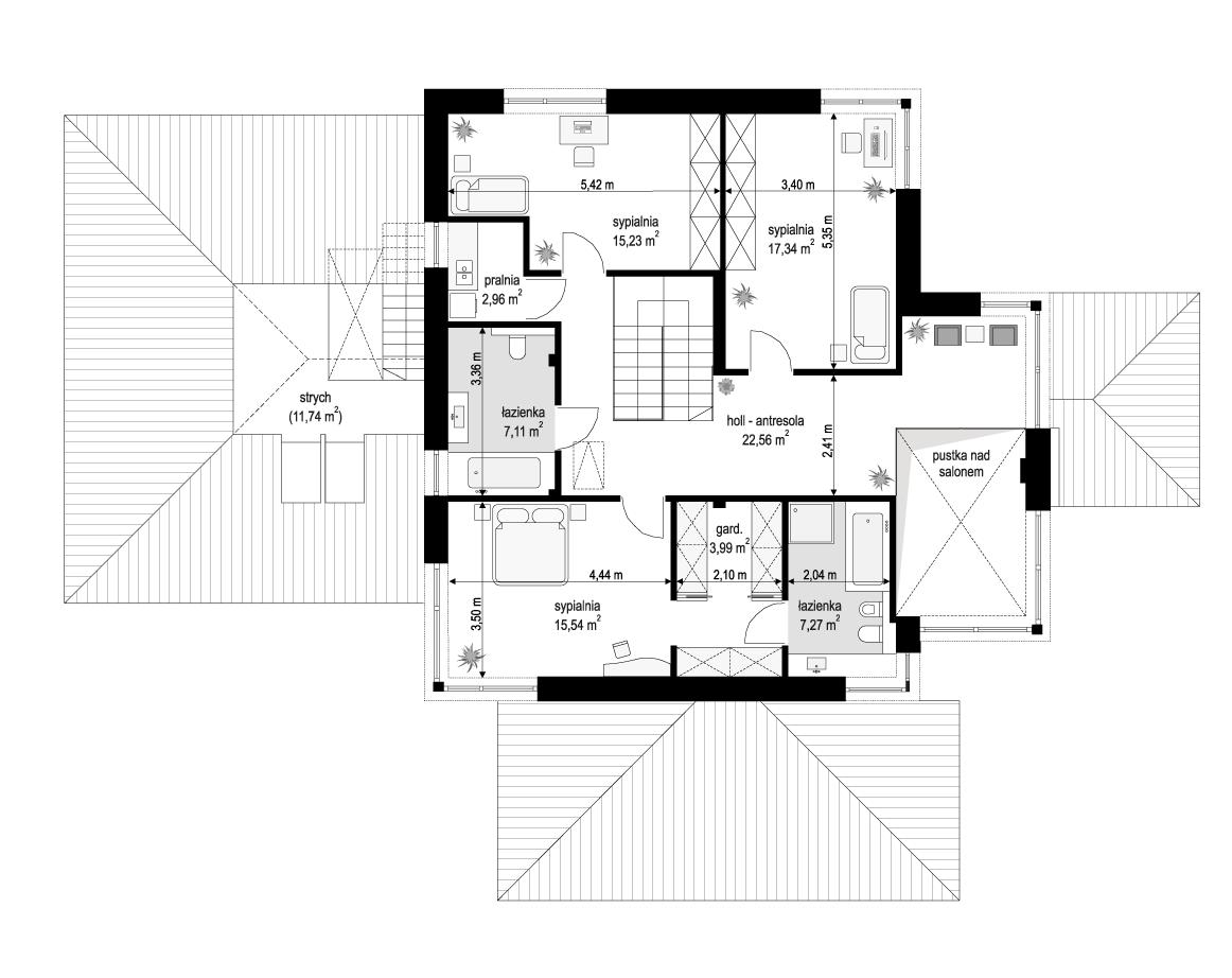 Dom z widokiem 3 wariant B - rzut piętra odbicie lustrzane