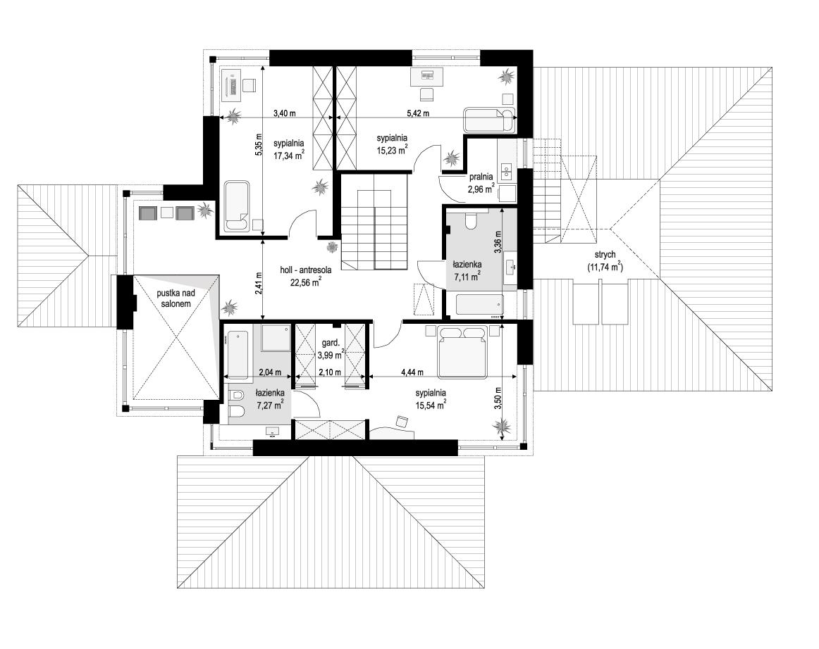 Dom z widokiem 3 wariant B - rzut piętra