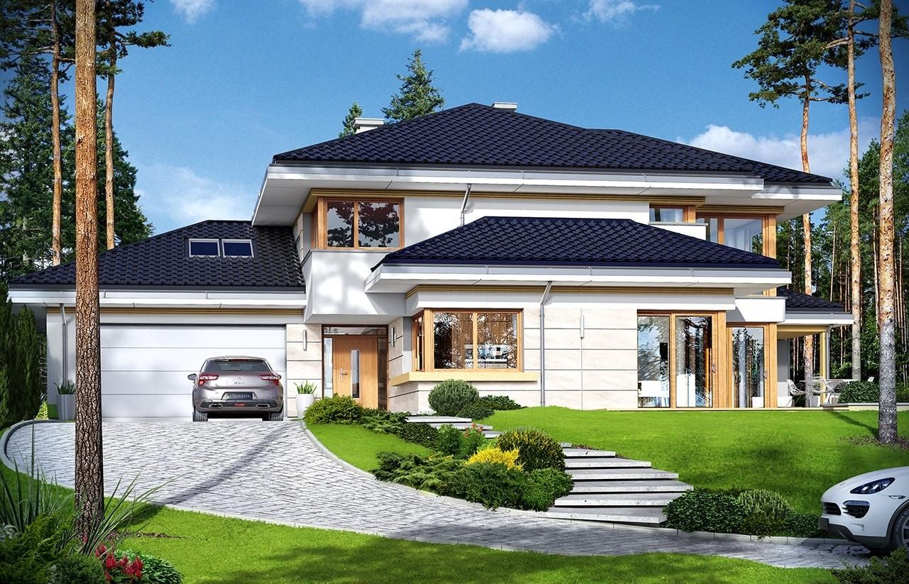 Projekt domu Dom z widokiem 3 - wizualizacja frontowa odbicie lustrzane