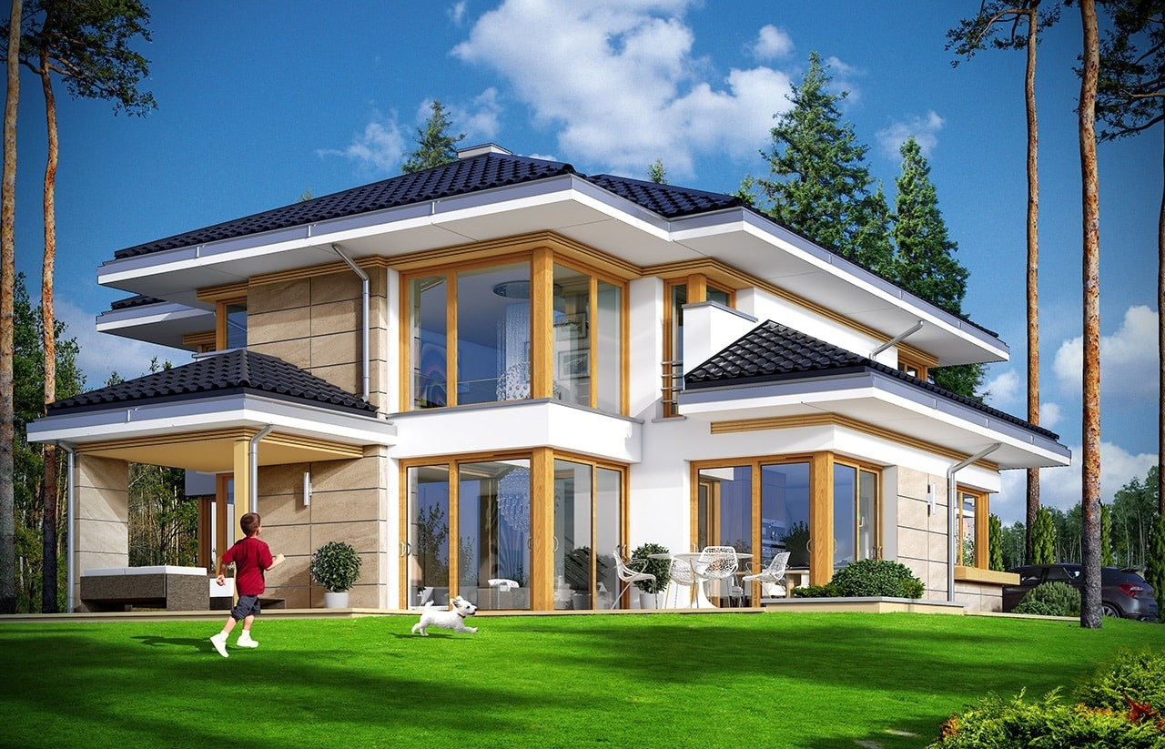 Projekt domu Dom z widokiem 3 - wizualizacja tylna