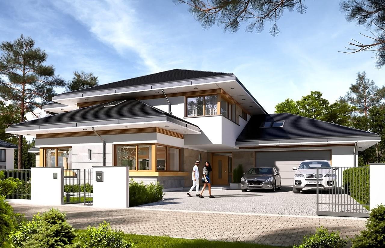 Projekt domu Dom z widokiem 4 - wizualizacja frontu odbicie lustrzane