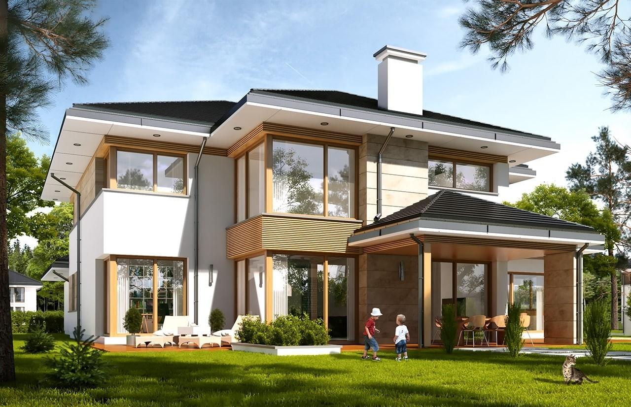 Projekt domu Dom z widokiem 4 - wizualizacja tylna odbicie lustrzane