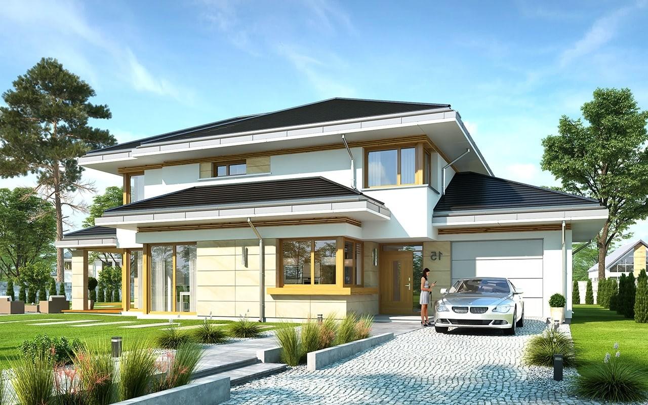 Projekt domu Dom z widokiem 5 - wizualizacja frontu odbicie lustrzane