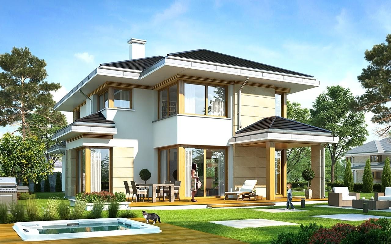 Projekt domu Dom z widokiem 5 - wizualizacja tylna odbicie lustrzane