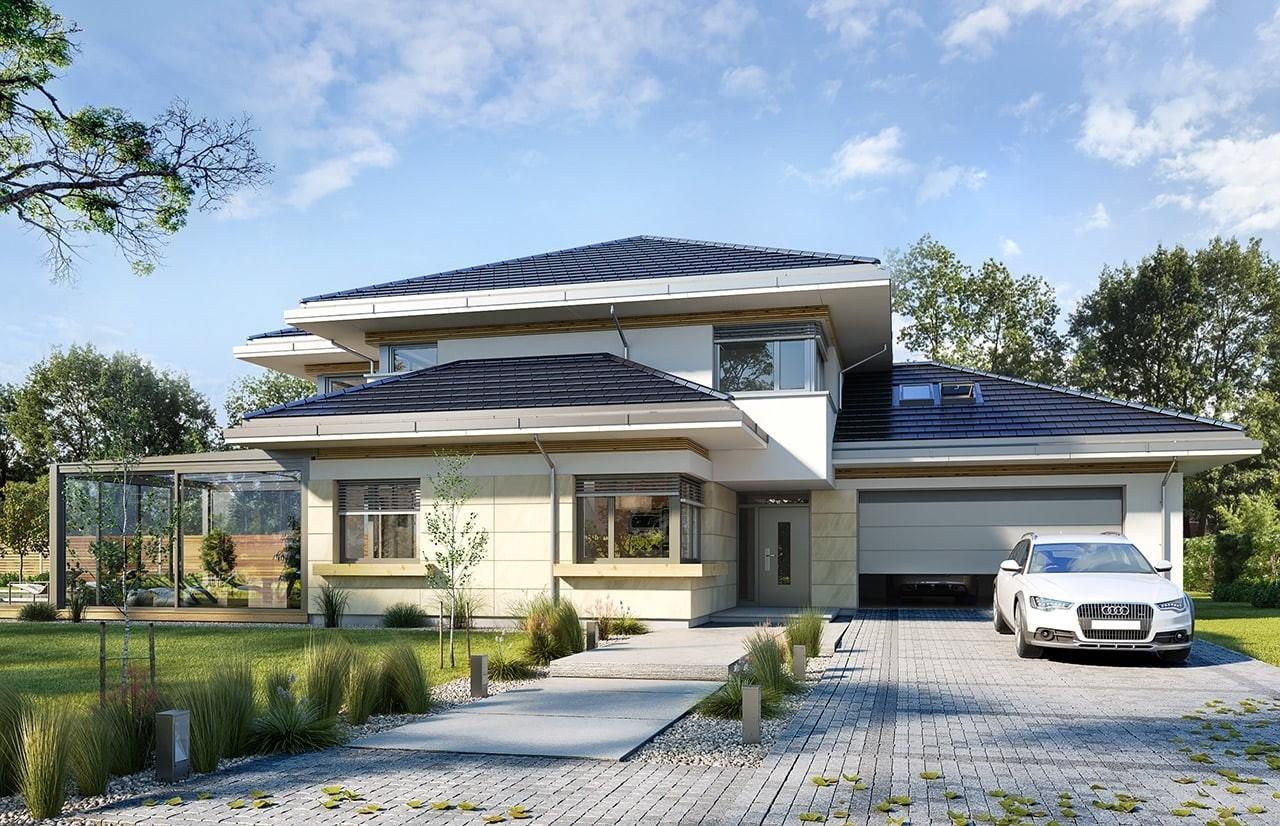 Projekt domu Dom z widokiem 6 B - wizualizacja frontu odbicie lustrzane