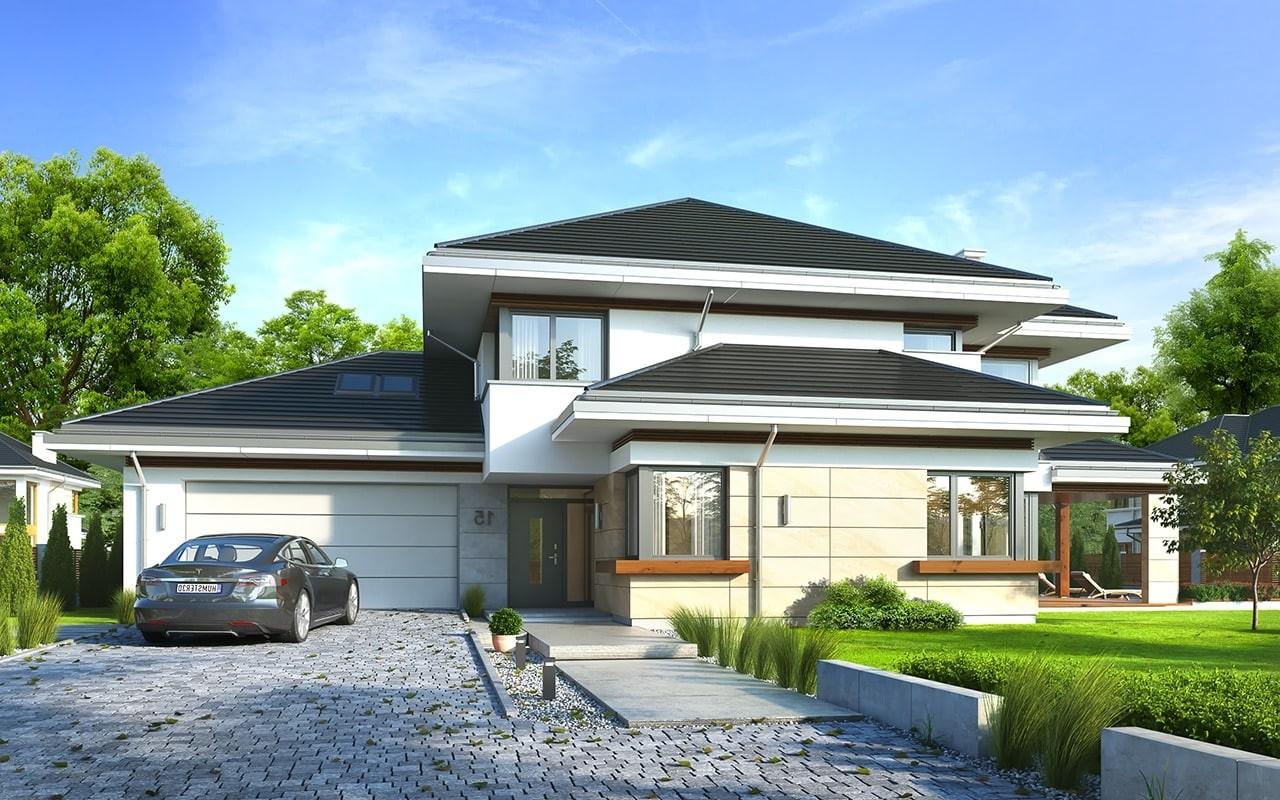 Projekt domu Dom z widokiem 6 - wizualizacja frontu odbicie lustrzane