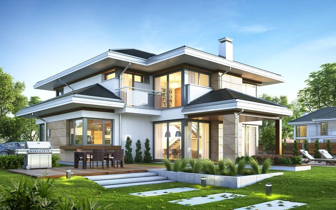 Projekt domu Dom z widokiem 6 - wizualizacja tylna odbicie lustrzane