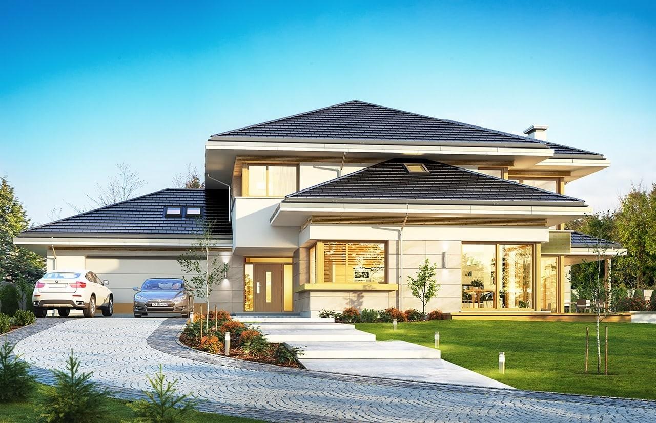 Projekt domu Dom z widokiem B - wizualizacja frontu odbicie lustrzane