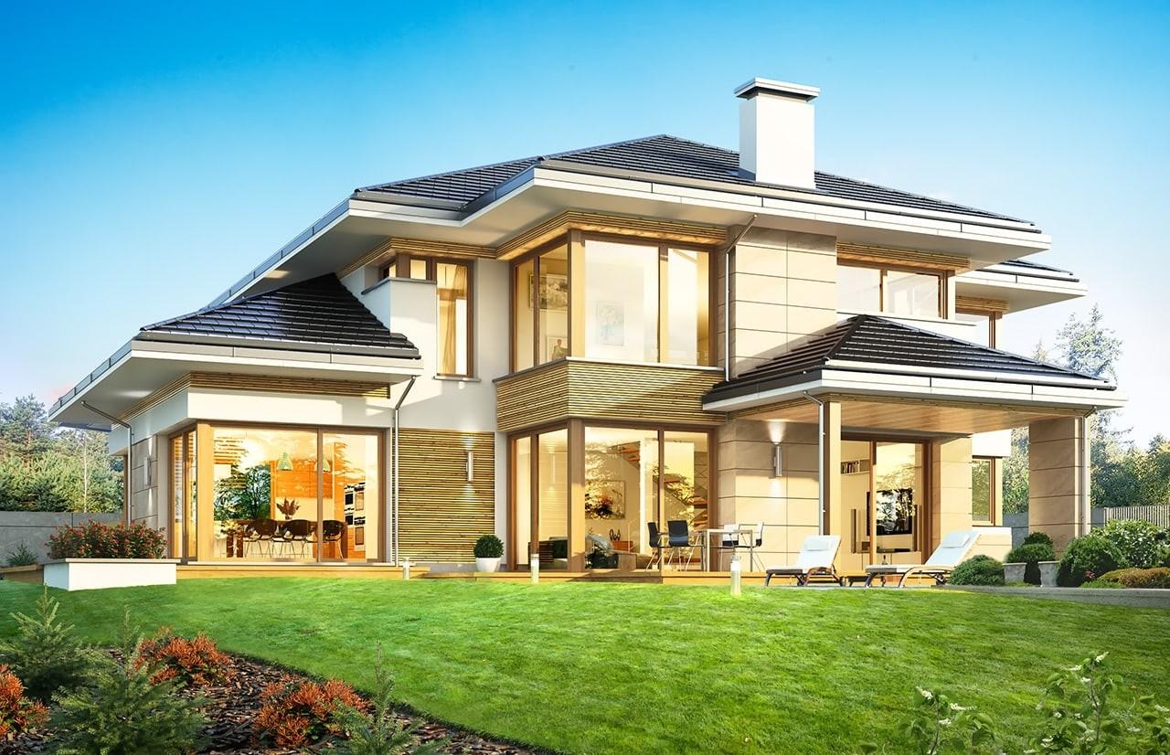 Projekt domu Dom z widokiem B - wizualizacja tylna odbicie lustrzane