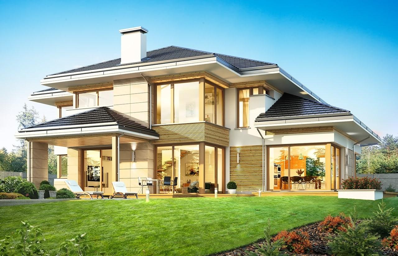 Projekt domu Dom z widokiem B - wizualizacja tylna