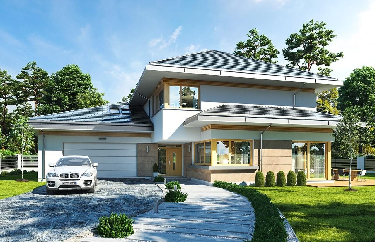 Projekt domu Dom z widokiem E - wizualizacja frontu odbicie lustrzane