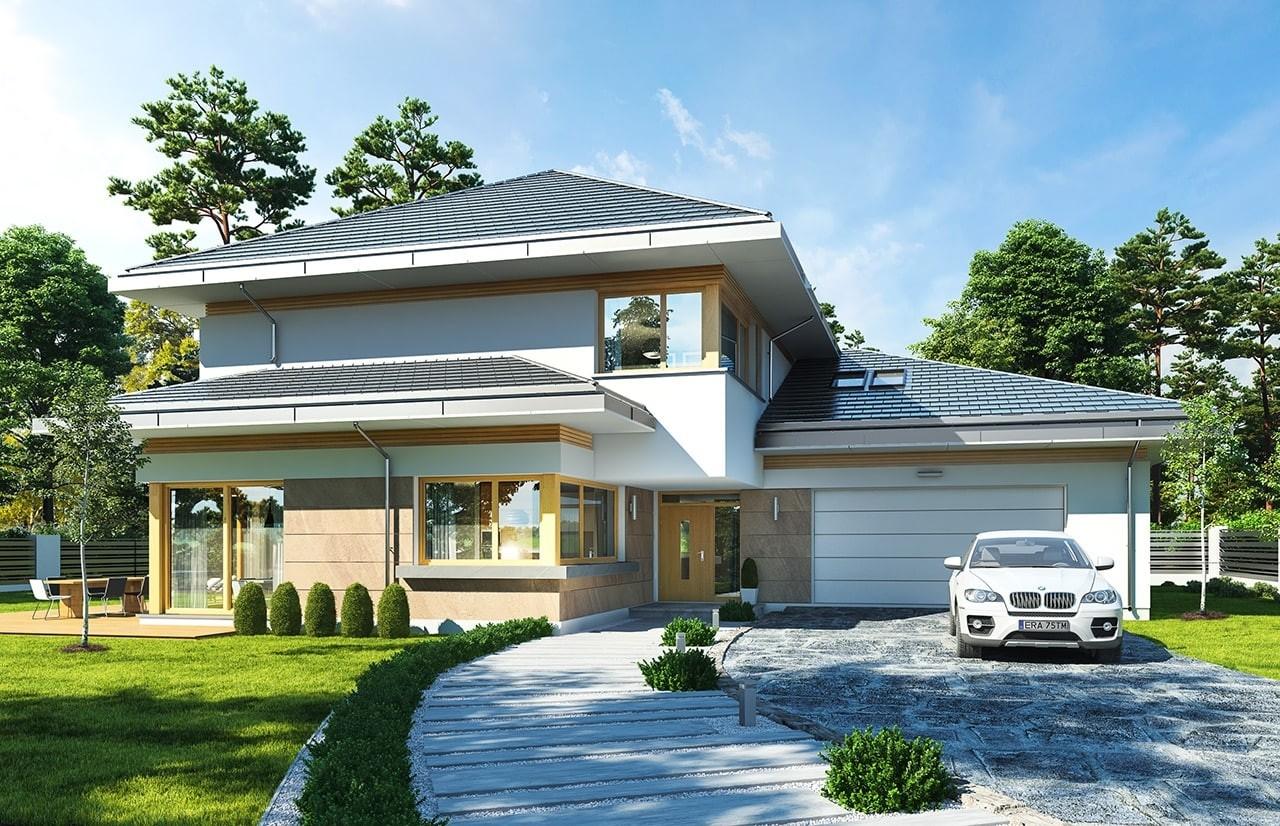 Projekt domu Dom z widokiem E - wizualizacja frontu