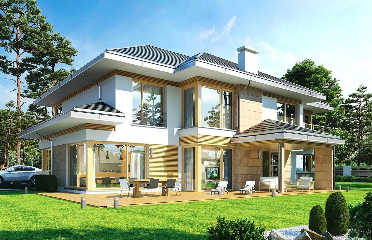 Projekt domu Dom z widokiem E - wizualizacja tylna odbicie lustrzane