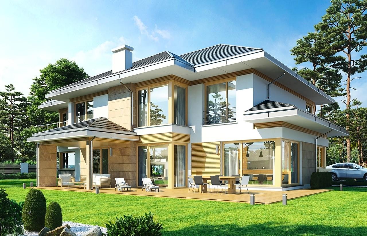 Projekt domu Dom z widokiem E - wizualizacja tylna