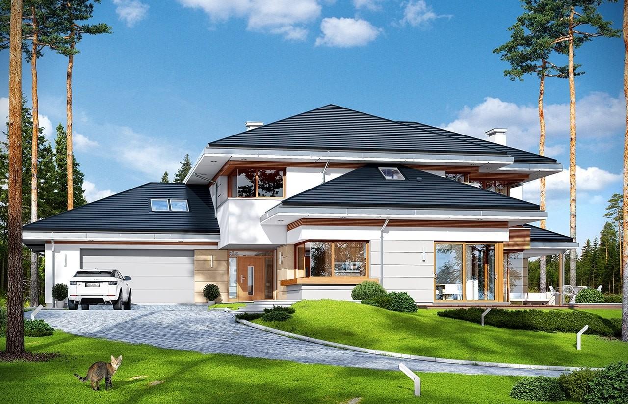 Projekt domu Dom z widokiem - wizualizacja frontu odbicie lustrzane