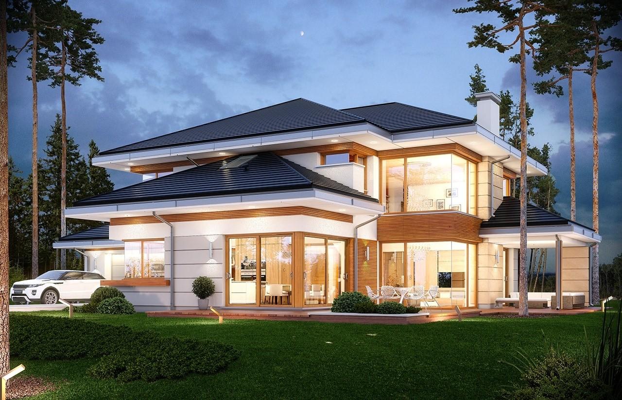 Projekt domu Dom z widokiem - wizualizacja tylna odbicie lustrzane