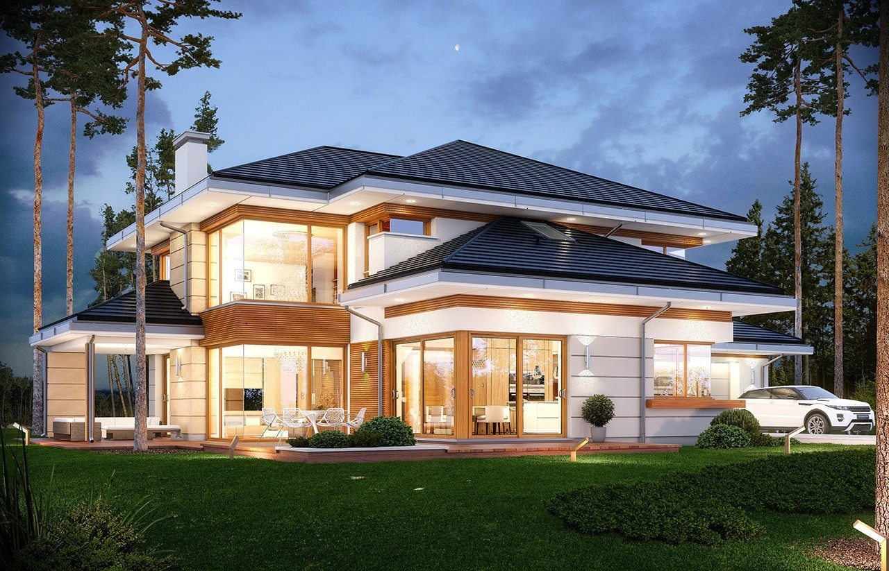 Projekt domu Dom z widokiem - wizualizacja tylna
